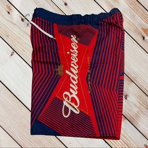 BUDWEISER Mens Large Board Shorts Red / Blue